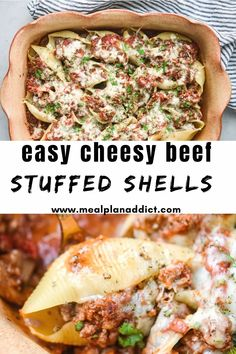 Easy Cheesy beef stuffed shells are a fun twist on the every day spaghetti and meat sauce. You will have the whole family wanting to help with this pasta dinner!