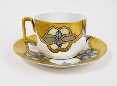 Vintage or Antique Tea Cup Heavy Gold Hand Painted w/ Blue Moriage Molded Shape | eBay