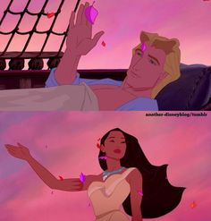 Pocahontas and John Smith. ❤  Whoever made Pocahontas 2 is evil. Sara! Thought if u when it talked about Pocahontas 2