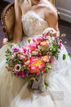 Meadowburn Farms wedding flowers. Coral Charm peony bouquet Poppies & Posies.