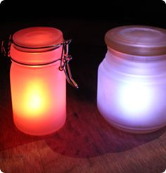 DIY glow jars... Use my frosted paint too