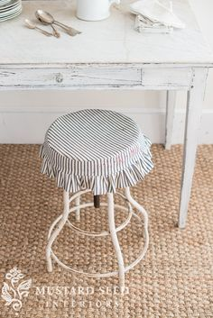 ticking slipcover for an industrial stool - Miss Mustard Seed