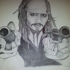 """""""Captain Jack"""" The one and only Captain Jack Sparrow. Graphite drawing, 15- 20 hours of work, sold."""