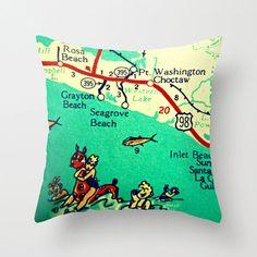 Retro 30A Map Pillow