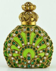 Vintage Vanity Perfume Bottle Old Gold Tone Filigree Green Glass Green Crystal