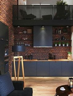 Best Inspiration Industrial Interior Design Ideas for Your Home Decor Industrial Loft Apartment Architecture And Designs For Inspiration Loft Kitchen, Home Decor Kitchen, Home Kitchens, Kitchen Ideas, Kitchen Black, Apartment Kitchen, Apartment Interior, Diy Kitchen, Decorating Kitchen