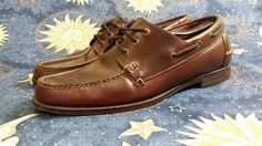 Rare VTG Mens L.L. Bean Boat Style Shoes / Boots SZ 12 D WIDTH BROWN LEATHER #LLBean #HikingTrail