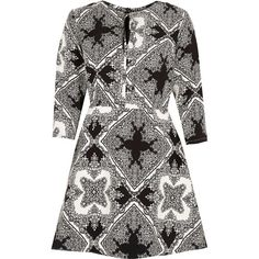 River Island Black print tie neck A-line dress ($80) ❤ liked on Polyvore featuring dresses, black, day / t-shirt dresses, women, tall dresses, river island dresses, black day dress, t shirt dress and neck ties
