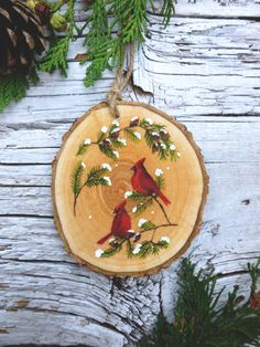 Red Cardinal Pair: Rustic Tree Ornament by AliceCEades on Etsy