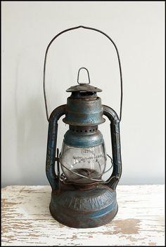 Vintage Blue Dietz Little Wizard Lantern