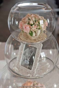 DIY Wedding Decorations on a Budget - Floral Centerpieces DIY Wedding Centerpieces on a Budget - Flowers Winter Wedding Centerpieces, Wedding Table Centerpieces, Diy Wedding Decorations, Floral Centerpieces, Table Decorations, Centerpiece Ideas, Fishbowl Centerpiece, Inexpensive Wedding Centerpieces, Pearl Decorations