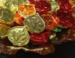 Foil wrapped chocolate aspen leaves