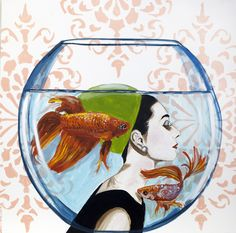 """""""Beta Fish Bowl Audrey"""" 30 x 30"""