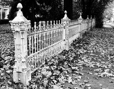 beautiful - just beautiful Victorian wrought iron ornate railings Rod Iron Fences, Cast Iron Fence, Wrought Iron Fences, Garden Gates And Fencing, Fence Gate, Front Fence, Fancy Fence, Old Gates, Witch Cottage