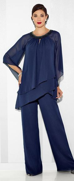 Three-piece chiffon set, asymmetrically layered top features three-quarter length draped sleeves trimmed with hand-beading and a beaded round neckline with keyhole, ballerina-length A-line skirt with elastic waistband, flared leg pants with elastic waistband.