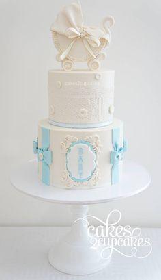 Elegant Blue & White Baby Shower Cake