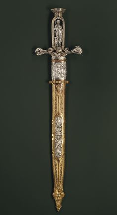 Hunting sword, ca. 1851. French (Paris). Silver, cast, chased, partly gilt; gilt copper; steel.