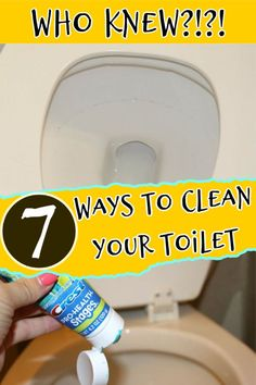 Cleaning to toilet is the WORST job in the house! Here are 7 toilet cleaning hacks that will help you clean your toilet and keep your toilet clean! Cleaning Items, Homemade Cleaning Products, Household Cleaning Tips, Toilet Cleaning, Bathroom Cleaning, Natural Cleaning Products, Cleaning Hacks, Toilet Ring, Window Cleaner