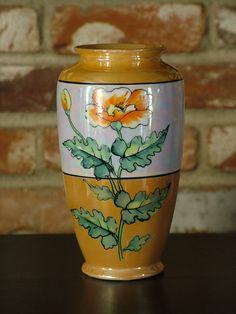 Vintage 30's Iridescent Poppy Made in Japan Lusterware Tapered Vase