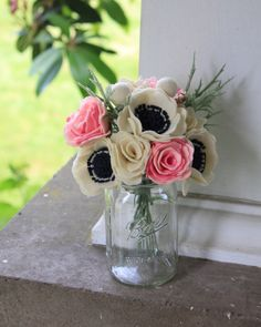 Cream and rose felt flower bouquet by ElleandLu on Etsy