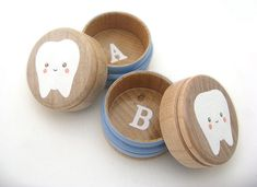 Two front teeth missing? Leave them for the tooth fairy in these adorable monogrammed boxes.