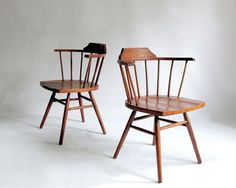 Pair of Mid Century Windsor Chairs in the style of George Nakashima, Paul McCobb. Captain's Chairs. on Etsy, $350.00