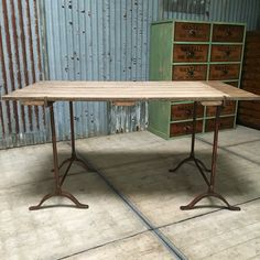 Antique cast iron trestle table available now for sale on www.a-Wolfe.co.uk antique warehouse in West Sussex.