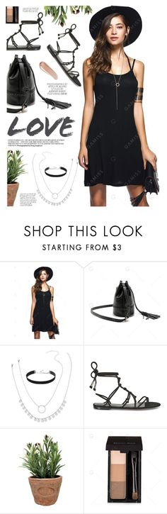 """Black spaghetti dress"" by yexyka ❤ liked on Polyvore featuring Rebecca Minkoff, Esschert Design and NARS Cosmetics"