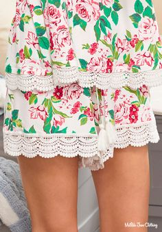 Brilliant Daydream, Spring Ease Of Mind Sleep Shorts Matilda Jane, Pajama Shorts, Floral Stripe, Cardigan Sweaters For Women, Pajamas Women, White Lace, Brown And Grey, Lace Shorts, Clothes For Women
