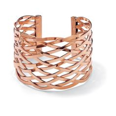 cuff bracelet from the Toscana collection. made from 14-karat rose gold plating over brass with a highly-polished finish, features an elaborate lattice design, and slips on for a snug fit.