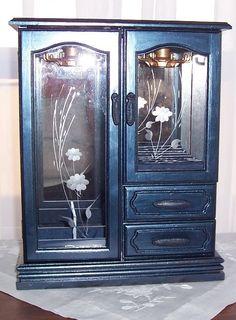 Vintage Wood Navy Blue Metallic Jewelry by UniquelyoneofakindMJ