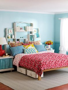 Bedroom Bliss - old dresser drawers painted and tipped on their sides to make a storage headboard!  love home-decor