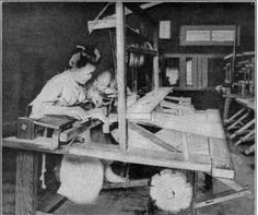 Courtesy of Cheney Bros. Fig. 81. - Silk weaving on a hand loom in Japan.