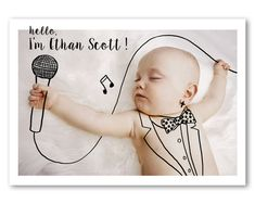 BIRTH ANNOUNCEMENT Digital Drawing on Photo Baby by ToddBorka