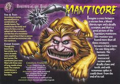 Name: Manticore Category: Monsters of the Mind Card Number: 37 Front: Manticore Monsters of the Mind card 37 front Back: Manticore Monsters of the Mind card 37 back Trading Card: Myths & Monsters, Monster Book Of Monsters, Monster Cards, Deadly Creatures, Wild Creatures, Mythological Creatures, Mythical Creatures, Manticore, Adventure Magazine