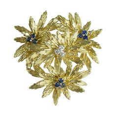 Tiffany 18 K Gold, Diamond, & Sapphire Brooch.