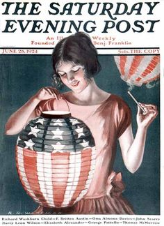 """""""Japanese Lantern,"""" Saturday Evening Post Cover, June 1924 Giclee Print by Katherine R. Old Magazines, Vintage Magazines, Saturday Evening Post, Photography Day, Norman Rockwell, Cool Posters, Fourth Of July, Illustrators, Giclee Print"""