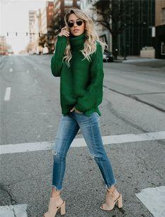 Karima Turtleneck Knit Sweater - Karima Turtleneck Knit Sweater Source by - Look Fashion, Winter Fashion, Fashion Design, Mode Outfits, Fashion Outfits, Womens Fashion, Fashion 2016, Night Outfits, Fashion Trends