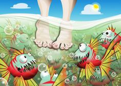 No Swimming! Vector Illustration by Camila Carmody, via Behance