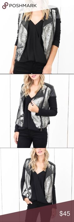 NWT Sequin Moto Jacket This jacket is great for fall and winter. Gorgeous moto style jacket that is perfect with asymmetrical front zip and Faux leather details on the shoulders. This jacket is fully lined! 🎉 Ina Jackets & Coats