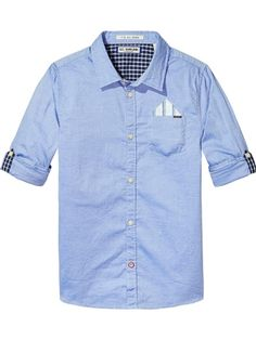 b41a07759f16 Boys Pocket Square Button Up Work Shirt Blue by Scotch and Soda Easter  Outfit For Girls
