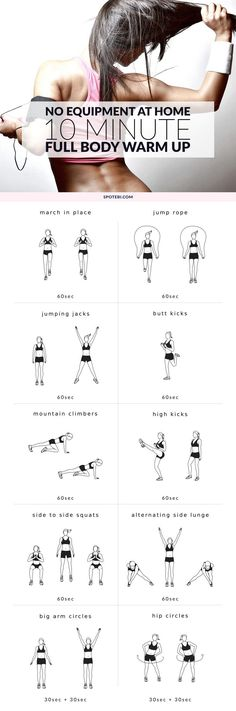 Complete this 10 minute warm up routine to prepare your entire body for a workout. Warm up your muscles and joints, increase your heart rate and burn body fat with these aerobic exercises. https://www.spotebi.com/workout-routines/10-minute-no-equipment-full-body-warm-up/