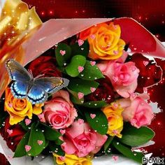 To my dear sister, flowers for you♡♡♡, Flowers Gif, Glitter Flowers, Beautiful Rose Flowers, Beautiful Gif, Love Rose, Beautiful Butterflies, Beau Gif, Rose Images, Special Flowers