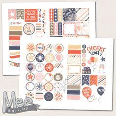 2017 New Years planner stickers printable,Decorative planner stickers set,New Year party stickers,deco weekly kit,DIY printable stickers,pdf by MeeDigiScrap on Etsy