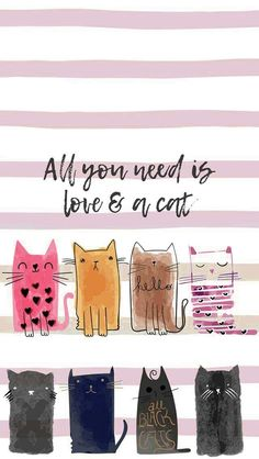 Pattern Sketch, Theme Pictures, Cat Art Print, Watercolor Cat, Kitty Wallpaper, Cat Birthday, Simple Art, Cute Illustration, Crazy Cats