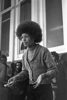 Angela Davis, from the US Black Panther Party, addresses a crowd in London to thank them for their support while she was in jail. 1974.