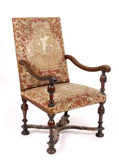 Mallams Fine Art Auctioneers (Abingdon) : AN 18TH CENTURY WALNUT OPEN ARMCHAIR with tapestry : Online Auction Catalogue