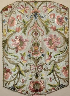 Late 17th or early 18th century Italian polychrome silk embroidered chasuble back