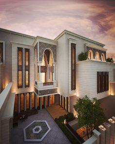 Conceptual design for Islamic private villa . Classic House Exterior, Classic House Design, Dream House Exterior, Modern Exterior, Exterior Design, Cafe Exterior, Restaurant Exterior, Craftsman Exterior, Cottage Exterior