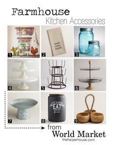 Check out World Market for farmhouse accessories to add Fixer Upper style to your kitchen  The Harper House